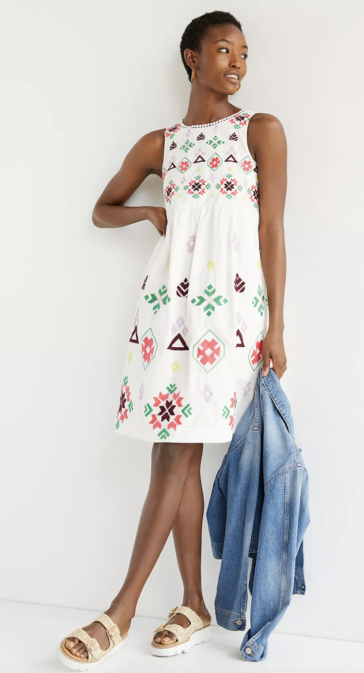 Dolly Embroidered Midi Dress (Anthropologie)