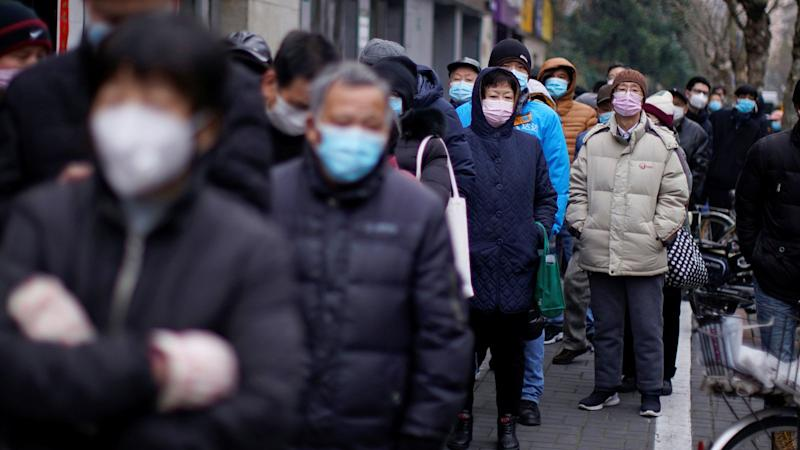 People in masks in China