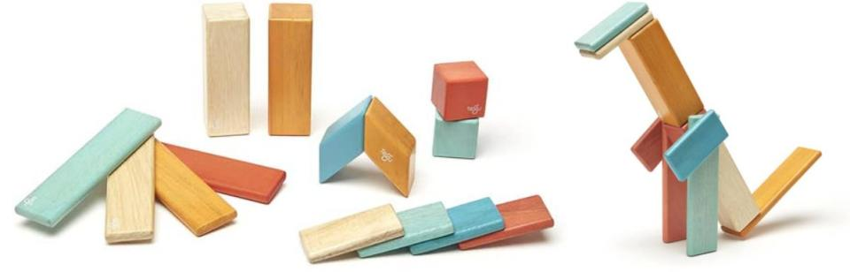 """This built-to-last, no-lead, no-plastic and nontoxic set can helpkids create all manner of creatures and objects that will serve as a soft introduction to all types of modern art.<br /><br /><strong>Promising review:</strong>""""The wood is excellent quality and very nice and smooth. Magnets are strong enough but not too strong.<strong>I actually like that the magnets are not on every single side because it teaches the kids to use their brains and troubleshoot.</strong>I do wish they were a little more affordable so we could get a large set, but understand why. The quality is definitely there. Thank you for providing a fun, toxic-free toy!"""" —<a href=""""https://amzn.to/3ejKU4C"""" target=""""_blank"""" rel=""""noopener noreferrer"""">Dorothea Gerber</a><br /><strong><br />Get it from Amazon for<a href=""""https://amzn.to/2PdAlaJ"""" target=""""_blank"""" rel=""""noopener noreferrer"""">$35+</a>(available in six different sets).</strong>"""