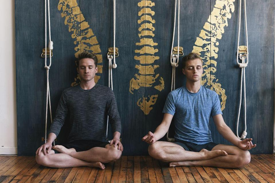 """<p>Feeling wound up as the year winds down? Meditation can help you get calm. Find a quiet environment, settle in with your date, and push play on your smartphone. Get free options via the <a href=""""https://www.uclahealth.org/marc/mindful-meditations"""" rel=""""nofollow noopener"""" target=""""_blank"""" data-ylk=""""slk:UCLA Mindfulness Meditation Center"""" class=""""link rapid-noclick-resp"""">UCLA Mindfulness Meditation Center </a>or on YouTube. </p>"""