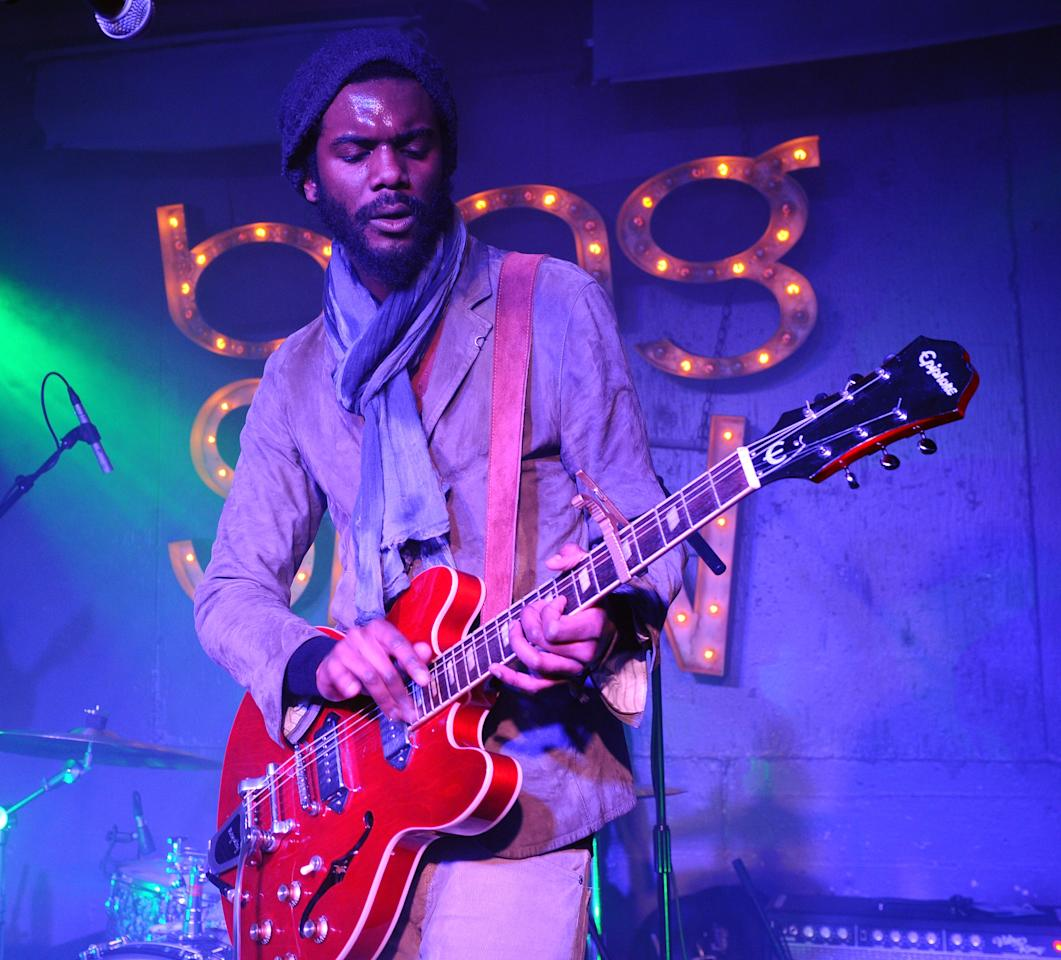 """PARK CITY, UT - JANUARY 20:  Guitarist Gary Clark Jr. performs at """"SPIN Sessions"""" presented by Bing at Bing Bar during 2012 Park City on January 20, 2012 in Park City, Utah.  (Photo by Michael Buckner/Getty Images for Bing)"""