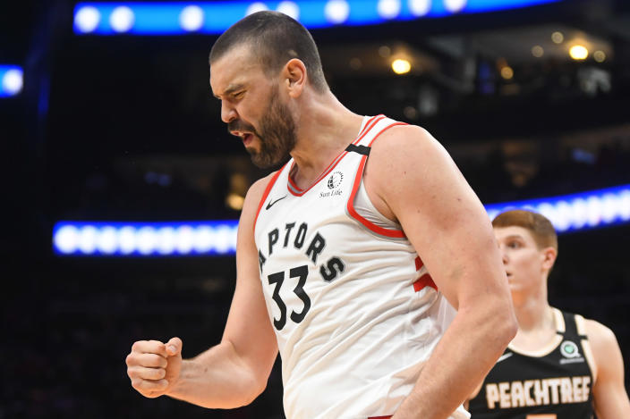 Toronto Raptors center Marc Gasol reacts after making a shot and being fouled during the second half of an NBA basketball game against the Atlanta Hawks, Monday, Jan. 20, 2020, in Atlanta. Toronto won 122-117.(AP Photo/John Amis)