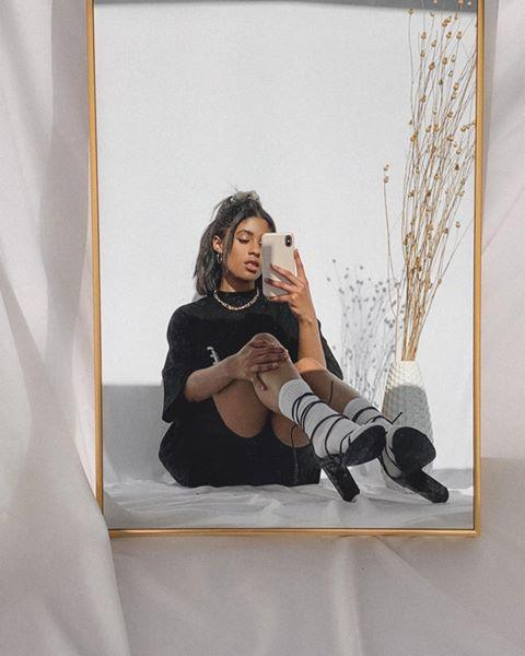"<p>Take a step back and include the frame of the mirror inside the photo for an artsy version of the mirror selfie. For even more of that photoshoot feel, place your decorative mirror on a backdrop and add a few props to your ""set.""</p><p><a href=""https://www.instagram.com/p/B-ua6lbhz7G/?utm_source=ig_embed&utm_campaign=loading"" rel=""nofollow noopener"" target=""_blank"" data-ylk=""slk:See the original post on Instagram"" class=""link rapid-noclick-resp"">See the original post on Instagram</a></p>"