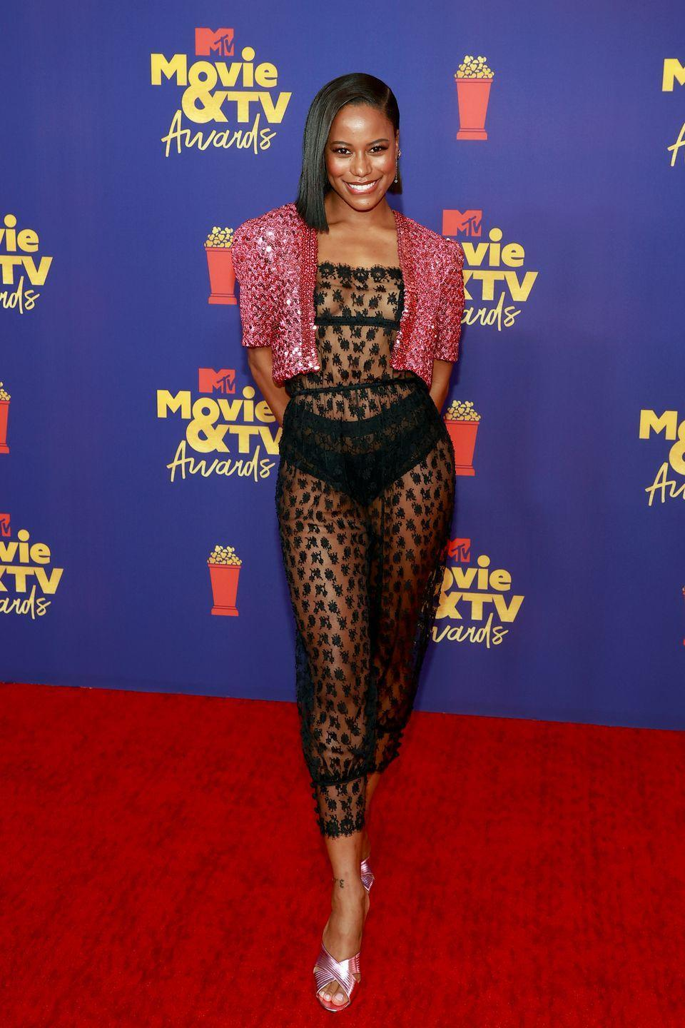 <p>Taylour Paige matched her Zola co-star in Gucci sequins.</p>