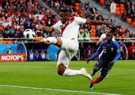 FILE PHOTO: Soccer Football - World Cup - Group C - France vs Peru - Ekaterinburg Arena, Yekaterinburg, Russia - June 21, 2018 Peru's Jefferson Farfan shoots at goal. REUTERS/Jason Cairnduff