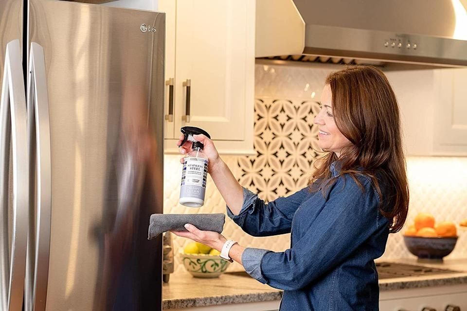 """You'll want thisif your fridge has been covered in smudges and fingerprints for so long that you've forgotten how beautiful and shiny it once was. Reviewers say it helps keep your surfaces smudge free for longer, meaning less cleaning for you!<br /><br /><strong>Promising review:</strong>""""This is hands-down the only product that has ever perfectly cleaned my stainless steel appliances.<strong>It deserves 10 stars because nothing else comes close to removing streaks and toddler finger prints as easily and completely as this.</strong>I have tried for years to get my appliances to look like new. Everyone who has stainless should own this."""" --<a href=""""https://amzn.to/3vNPMGa"""" target=""""_blank"""" rel=""""noopener noreferrer"""">Danielle</a><br /><br /><strong>Get it from Amazon for <a href=""""https://amzn.to/3eq0UDr"""" target=""""_blank"""" rel=""""noopener noreferrer"""">$16.95</a>.</strong>"""