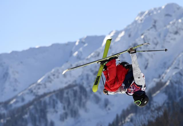 Joss Christensen of the U.S. performs a jump during the men's freestyle skiing slopestyle qualification round at the 2014 Sochi Winter Olympic Games in Rosa Khutor February 13, 2014. REUTERS/Dylan Martinez (RUSSIA - Tags: SPORT OLYMPICS SPORT SKIING TPX IMAGES OF THE DAY)