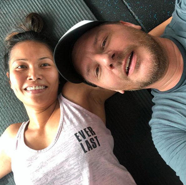 Manu Feildel and wife Clarissa Weerasena train at the gym
