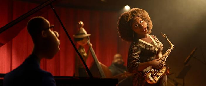 """In Disney and Pixar's """"Soul,"""" a middle-school band teacher named Joe Gardner gets the chance of a lifetime to play the piano in a jazz quartet headed by the great Dorothea Williams. Featuring Jamie Foxx as the voice of Joe Gardner, and Angela Bassett as the voice of Dorothea, """"Soul"""" opens in U.S. theaters on June 19, 2020.. Credit: Disney/Pixar."""
