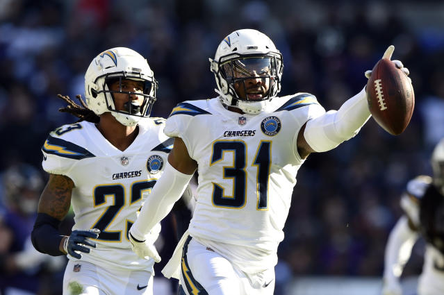 Los Angeles Chargers defensive back Adrian Phillips, right, celebrates with teammate Rayshawn Jenkins after intercepting a pass in the first half of an NFL wild card playoff football game against the Baltimore Ravens, Sunday, Jan. 6, 2019, in Baltimore. (AP Photo/Gail Burton)