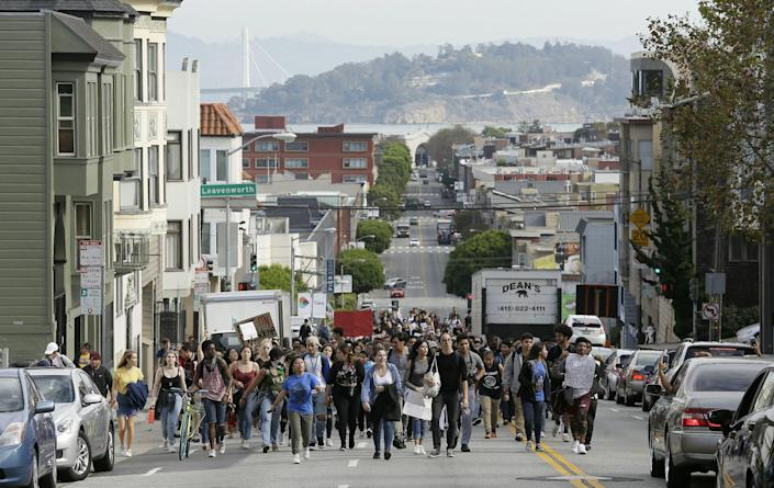 <p>High school students march toward Ghirardelli Square in opposition of Donald Trump's presidential election victory in San Francisco, Thursday, Nov. 10, 2016. (AP Photo/Eric Risberg) </p>