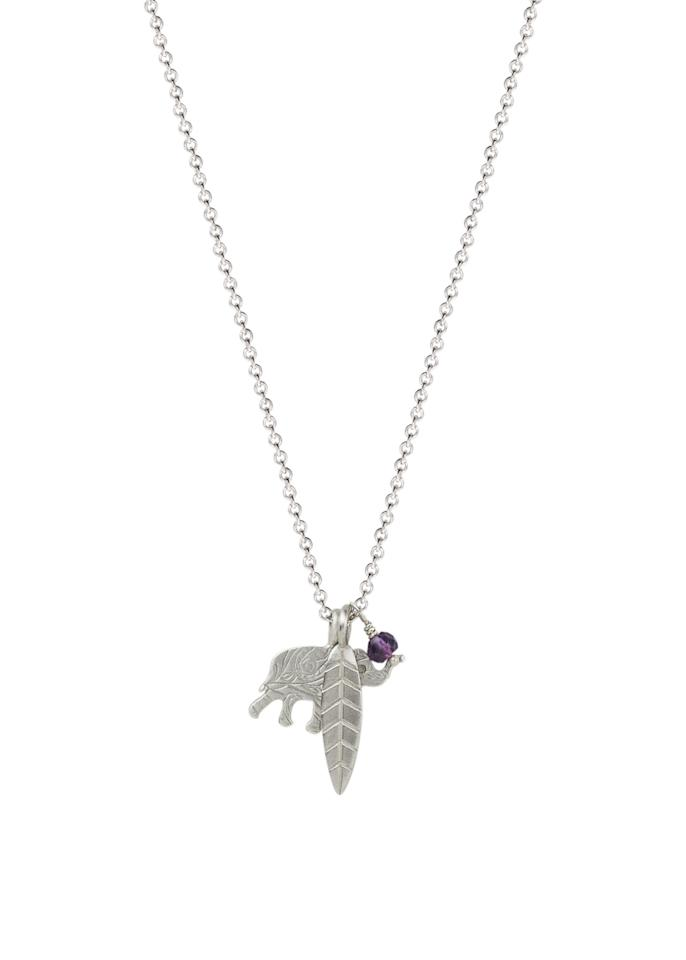 """<p>Sterling Silver Double-Sided Paisley Elephant and Feather with Amethyst Bead Pendant Necklace, $75, <a rel=""""nofollow"""" href=""""https://www.amazon.com/Me-Ro-Sterling-Double-Sided-Elephant/dp/B01LC85GDE/ref=sr_1_12?ie=UTF8&qid=1476642107&sr=8-12&keywords=me%26ro"""">amazon.com</a> </p>"""
