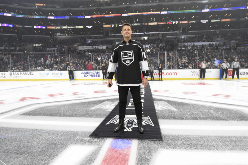 LOS ANGELES, CA - FEBRUARY 20: LA Galaxy & Mexican Mexico National Team Javier Hernández takes the ice to gets set to drop the ceremonial puck prior to the first period against the Florida Panthers at STAPLES Center on February 20, 2020 in Los Angeles, California. (Photo by Adam Pantozzi/NHLI via Getty Images)