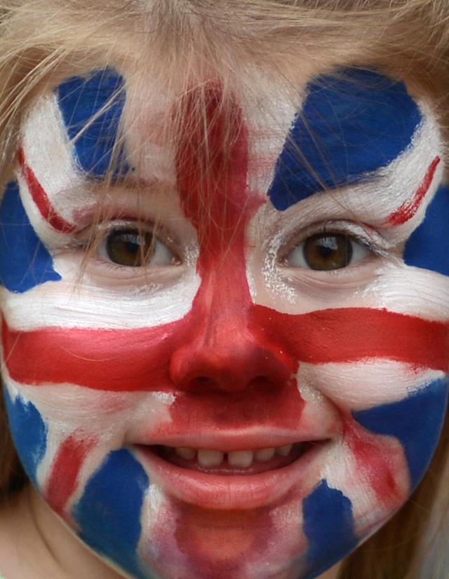 LONDON, ENGLAND - JULY 27: A little Great Britain supporter in anticipation of the Opening Ceremony for the London 2012 Olympic Games at Olympic Stadium on July 27, 2012 in London, England. (Photo by Julia Vynokurova/Getty Images)