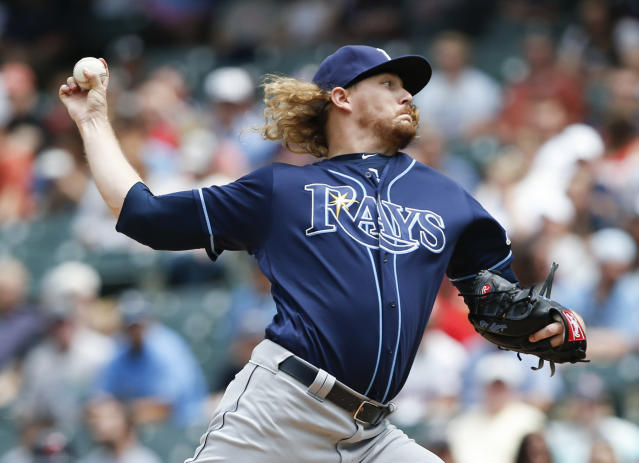 Tampa Bay Rays starting pitcher Ryne Stanek delivers against the Cleveland Indians during the first inning of a baseball game, Sunday, May 26, 2019, in Cleveland. (AP Photo/Ron Schwane)