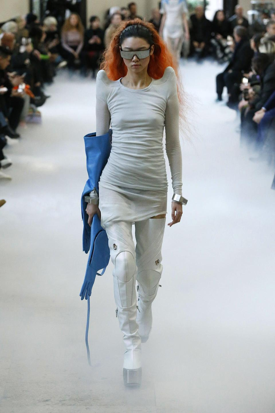 <p>Futuristic fashion is in, and Rick Owens is paving the way. If pronounced shoulders and platform boots aren't your thing, fear not. You can still channel the look with metallic fabrics (foiled is even better) and mirrored sunglasses.</p>