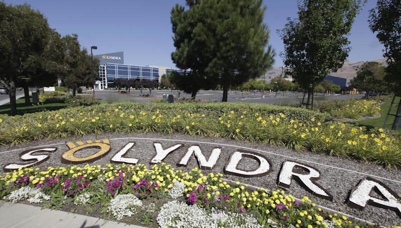 The exterior view of bankrupt Solyndra is seen in Fremont, Calif., Friday, Sept. 16, 2011. The Obama administration was worried about the financial health of Solyndra, a troubled solar energy company, and the political fallout it could bring even as officials publicly declared the company in good shape, newly released emails show. An email from a White House budget official to a co-worker discussed the likely effect of a default by Solyndra Inc. on Obama's re-election campaign. Solyndra is also under investigation by the FBI.  (AP Photo/Paul Sakuma)