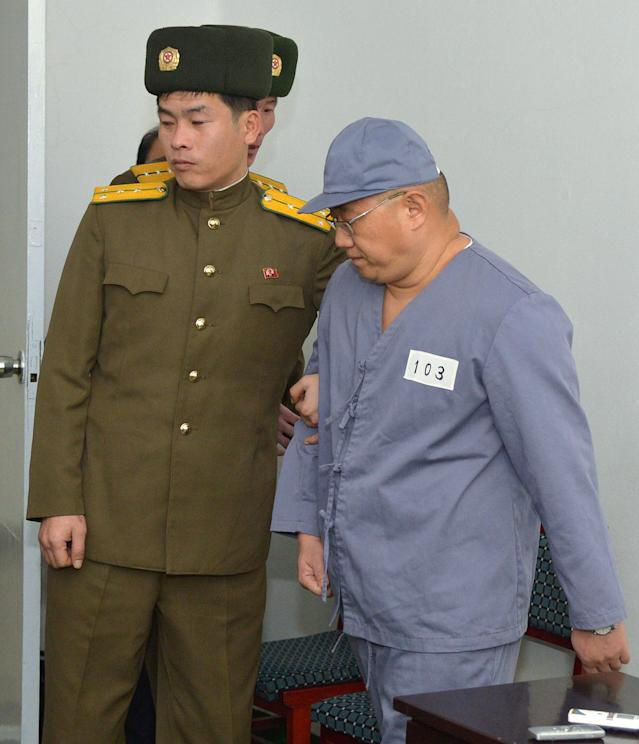 Kenneth Bae, a Korean-American Christian missionary who has been detained in North Korea for more than a year, appears before a limited number of media outlets in Pyongyang
