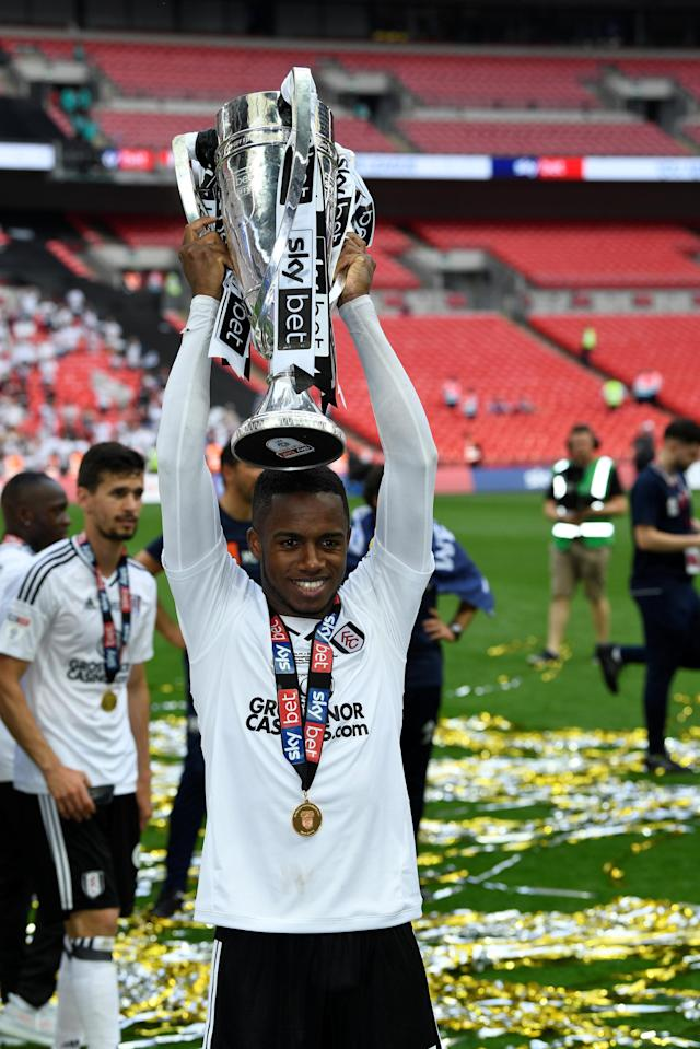 "Soccer Football - Championship Play-Off Final - Fulham vs Aston Villa - Wembley Stadium, London, Britain - May 26, 2018 Fulham's Ryan Sessegnon celebrates promotion to the Premier League with the trophy Action Images via Reuters/Tony O'Brien EDITORIAL USE ONLY. No use with unauthorized audio, video, data, fixture lists, club/league logos or ""live"" services. Online in-match use limited to 75 images, no video emulation. No use in betting, games or single club/league/player publications. Please contact your account representative for further details."