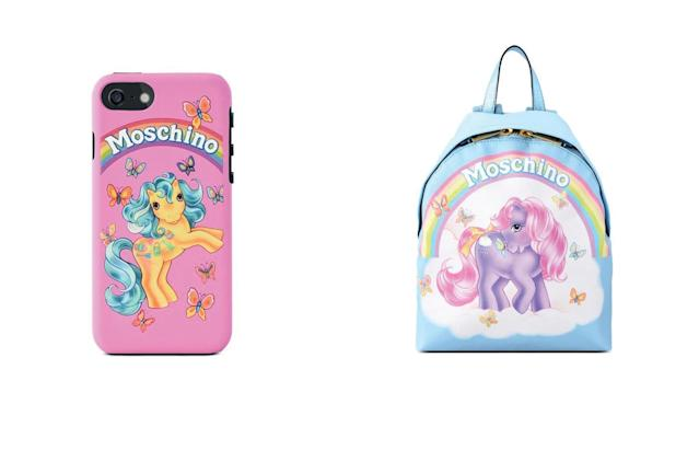 Accessories from the Moschino My Little Pony collection include a $75 iPhone case and a $695 backpack. (Photo: Moschino)