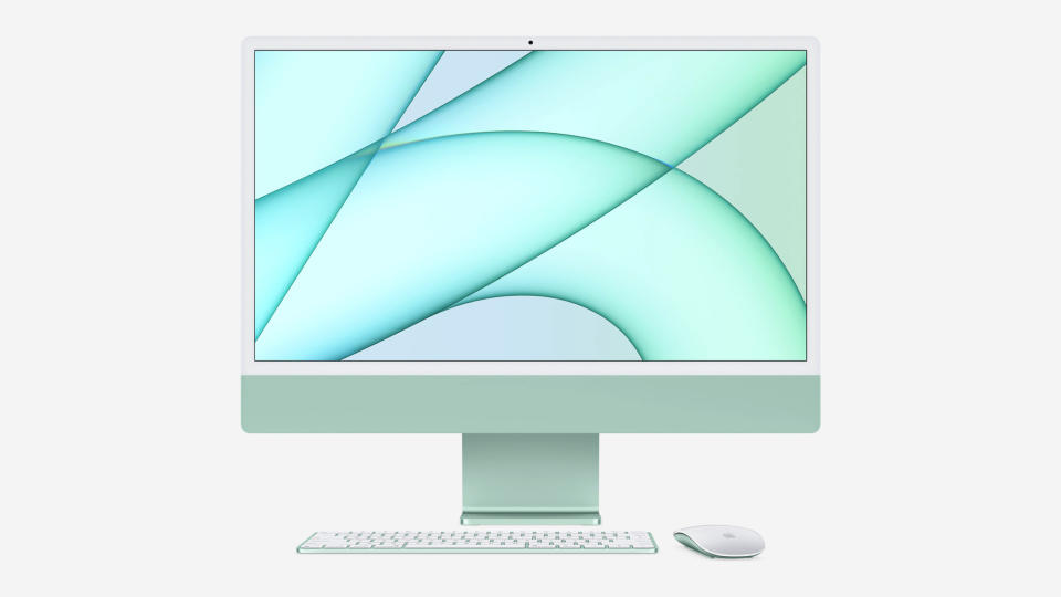<p>The new Apple iMac powered by the M1 chip and in a rainbow of color options.</p>