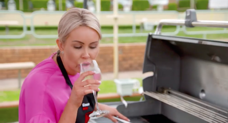 Emma and Jess were seen enjoying some white wine during their cooking challenge. Source: Seven