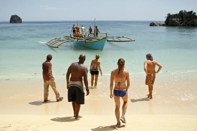 """Blindside Time"" - John Cochran, Phillip Sheppard, Dawn Meehan, Corinne Kaplan and Michael Snow get ready for the merge during the eighth episode of ""Survivor: Caramoan - Fans vs. Favorites."""
