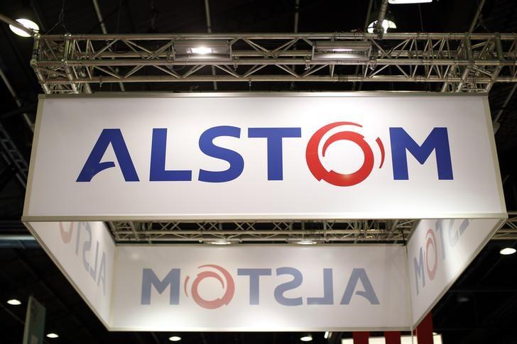 The logo of Fench power and transport engineering company Alstom is seen at the World Nuclear Exhibition 2014 in Le Bourget, near Paris