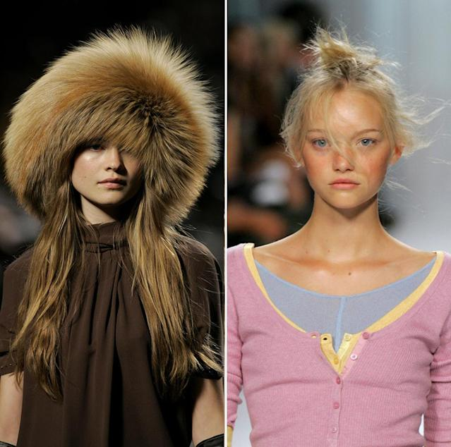 <p>Peep baby Behati Prinsloo and Gemma Ward made hair statements a decade ago. (Photo: Getty Images) </p>
