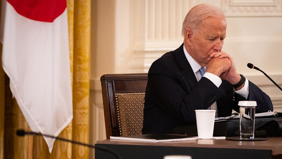 U.S. President Joe Biden pauses during a meeting in the East Room of the White House in Washington, D.C., U.S., on Friday, Sept. 24, 2021. (Sarahbeth Many/The New York Times/Bloomberg via Getty Images)