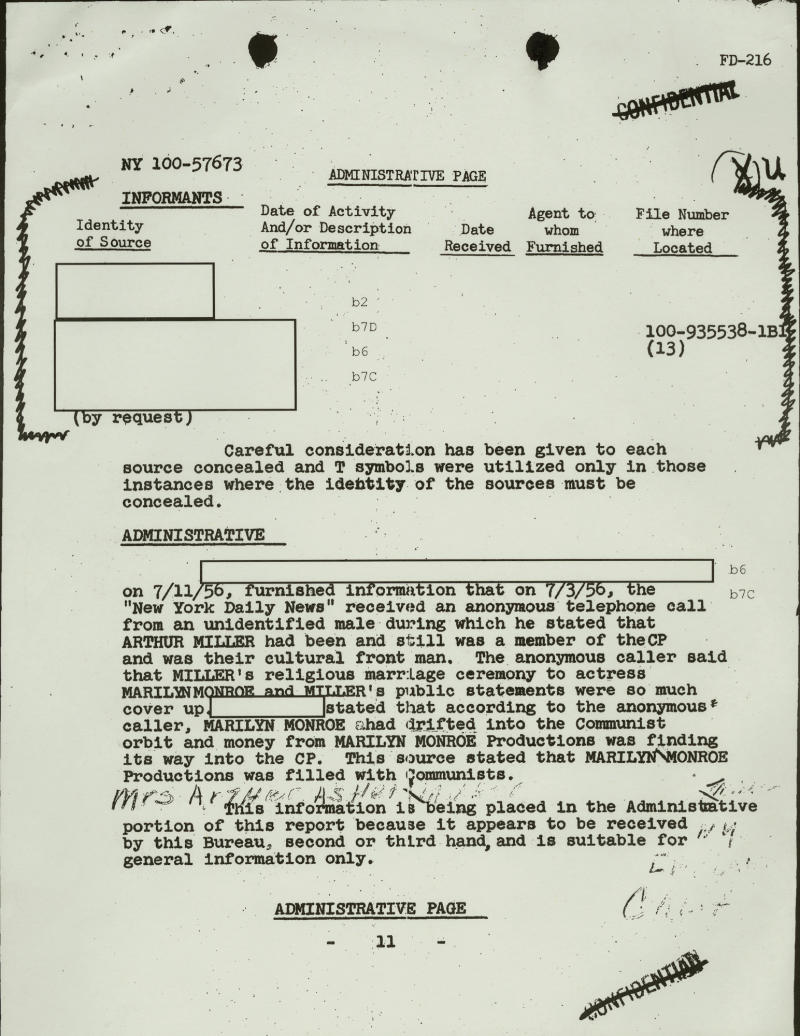 "FILE - This file copy of a document, obtained by The Associated Press through the Freedom of Information Act, from playwright Arthur Miller's FBI file, shows an FBI report stating, that ""the New York Daily News received an anonymous telephone call"" on July 3, 1956. The caller, ""an unidentified male,"" stated that ""Arthur Miller had been and still was a member of the CP (Communist Party) and was their cultural front man"" and that (his wife) ""Marilyn Monroe"" also ""had drifted into the Communist orbit."" The file revealed that Miller had been the subject of FBI surveillance for a long time. In late 2012, the FBI has released a new version of files it kept on Marilyn Monroe that reveal the names of some of her acquaintances who had drawn concern from government officials and members of her entourage over their suspected ties to communism. (AP Photo/FBI, File)"