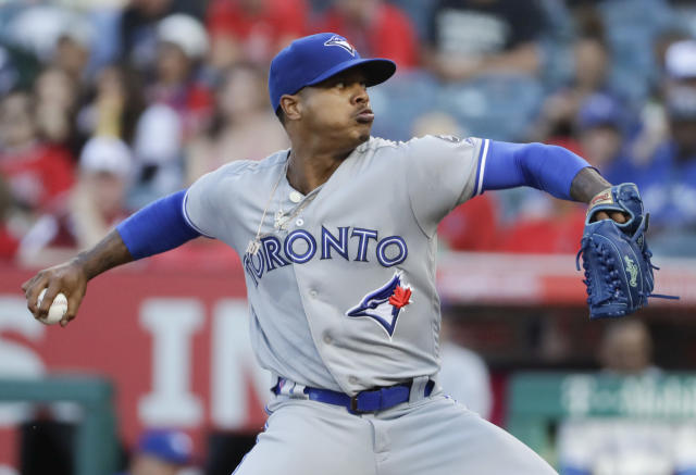 Toronto Blue Jays starting pitcher Marcus Stroman throws to a Los Angeles Angels batter during the first inning of a baseball game in Anaheim, Calif., Saturday, June 23, 2018. (AP Photo/Chris Carlson)