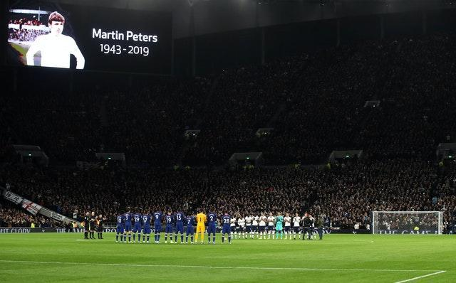 Tributes were paid to Martin Peters at the Tottenham Hotspur Stadium after he died in December 2019