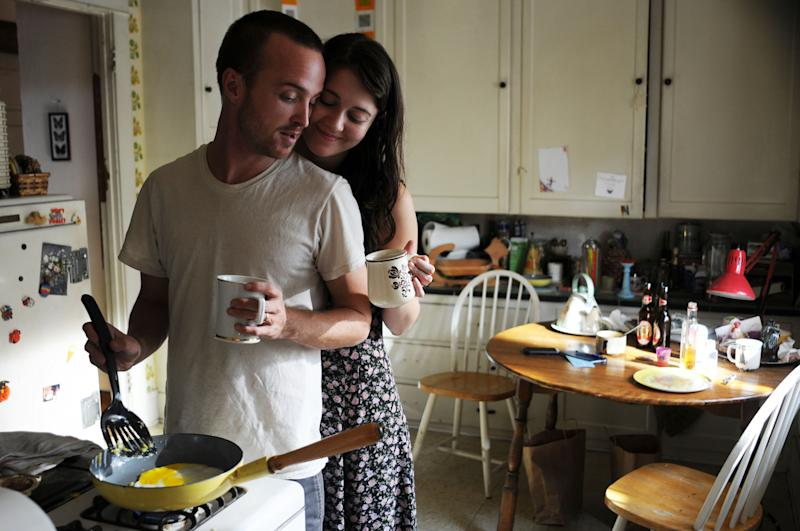 "This film image released by Sony Pictures Classics shows Aaron Paul as Charlie Hannah, left, and Mary Elizabeth Winstead as Kate Hannah in a scene from ""Smashed."" (AP Photo/Sony Pictures Classics, Oana Marian)"