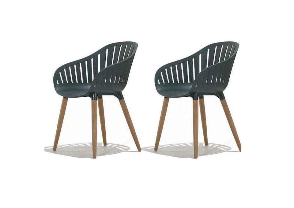 """<p>Another recycled choice, these garden chairs from Lifestyle Garden are fully made from reclaimed fishing nets and plastic from the sea.<strong><a href=""""https://www.lifestylegarden.com/duraocean/"""" rel=""""nofollow noopener"""" target=""""_blank"""" data-ylk=""""slk:"""" class=""""link rapid-noclick-resp""""><br></a></strong></p><p><strong><a class=""""link rapid-noclick-resp"""" href=""""https://www.lifestylegarden.com/duraocean/"""" rel=""""nofollow noopener"""" target=""""_blank"""" data-ylk=""""slk:BUY NOW"""">BUY NOW</a> £179.99 for two</strong></p>"""
