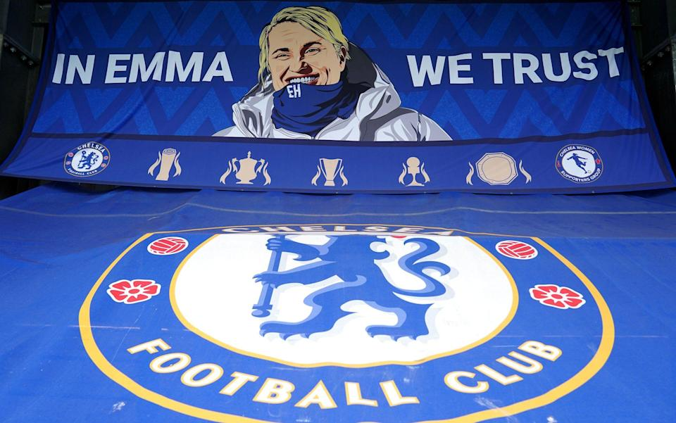 A Chelsea banner in the stands showing support for manager Emma Hayes before the FA Women's Super League match at Kingsmeadow, London. - Pa