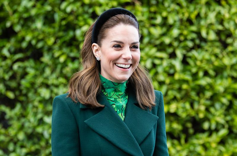 DUBLIN, IRELAND - MARCH 03: Catherine, Duchess of Cambridge walks in the gardens during a meeting at Áras an Uachtaráin on March 03, 2020 in Dublin, Ireland. The Duke and Duchess of Cambridge are undertaking an official visit to Ireland between Tuesday 3rd March and Thursday 5th March, at the request of the Foreign and Commonwealth Office. (Photo by Samir Hussein/WireImage)