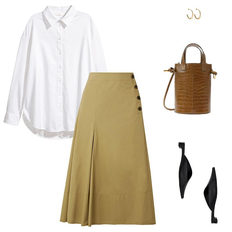 "<a rel=""nofollow"" href=""https://rstyle.me/n/cw743rchdw"">Cotton Shirt, H&M, $20<p>An A-line skirt is polished for work while asymmetric low-heeled mules, chunky hoops and an embossed bucket bag are directional accents.</p> </a><a rel=""nofollow"" href=""https://click.linksynergy.com/deeplink?id=30KlfRmrMDo&mid=24449&murl=https%3A%2F%2Fwww.net-a-porter.com%2Fus%2Fen%2Fproduct%2F1001371%3Fcm_mmc%3DGoogle-ProductSearch-US--c-_-NAP_EN_US_PLA-_-NAP_US_GS_Designers%2B%2528Low%2529--Designers_AM%26gclid%3DEAIaIQobChMIgLCKjPSg2QIVhTxpCh1_RwouEAQYASABEgLmjvD_BwE%26gclsrc%3Daw.ds"">Smith Cotton-Twill Midi Skirt, Joseph, $525<p>An A-line skirt is polished for work while asymmetric low-heeled mules, chunky hoops and an embossed bucket bag are directional accents.</p> </a><a rel=""nofollow"" href=""https://www.zara.com/us/en/asymmetric-leather-mules-p13530301.html?v1=5323371&v2=358009"">Asymmetric Leather Mules, Zara, $50<p>An A-line skirt is polished for work while asymmetric low-heeled mules, chunky hoops and an embossed bucket bag are directional accents.</p> </a><a rel=""nofollow"" href=""https://rstyle.me/~ahbnL"">Louise Olsen Large Liquid Gold-Plated Hoop Earrings, Dinosaur Designs, $280<p>An A-line skirt is polished for work while asymmetric low-heeled mules, chunky hoops and an embossed bucket bag are directional accents.</p> </a><a rel=""nofollow"" href=""https://rstyle.me/n/cw749tchdw"">Garden Bag, Trademark, $778<p>An A-line skirt is polished for work while asymmetric low-heeled mules, chunky hoops and an embossed bucket bag are directional accents.</p> </a><p>     <strong>Related Articles</strong>     <ul>         <li><a rel=""nofollow"" href=""http://thezoereport.com/fashion/style-tips/box-of-style-ways-to-wear-cape-trend/?utm_source=yahoo&utm_medium=syndication"">The Key Styling Piece Your Wardrobe Needs</a></li><li><a rel=""nofollow"" href=""http://thezoereport.com/fashion/accessories/beyonce-approved-accessory-brand-thats-surprisingly-affordable/?utm_source=yahoo&utm_medium=syndication"">A Beyoncé-Approved Accessory Brand That's Surprisingly Affordable</a></li><li><a rel=""nofollow"" href=""http://thezoereport.com/entertainment/celebrities/jennifer-aniston-justin-therouxs-separation/?utm_source=yahoo&utm_medium=syndication"">Jennifer Aniston And Justin Theroux's Separation Is #RelationshipGoals</a></li>    </ul> </p>"