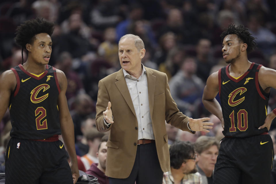 John Belein was evidently treated to a deluge of Tupac and Bone Thugs-n-Harmony at Cavs facilities. (AP Photo/Tony Dejak)