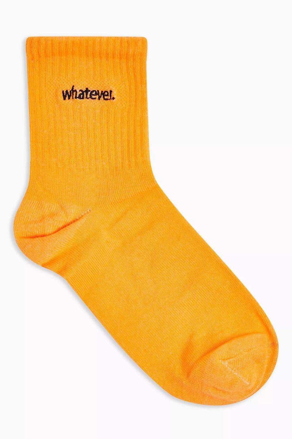 <p>These <span>Whatever Embroidered Tube Socks</span> ($6) will adorn your fall loafers. </p>