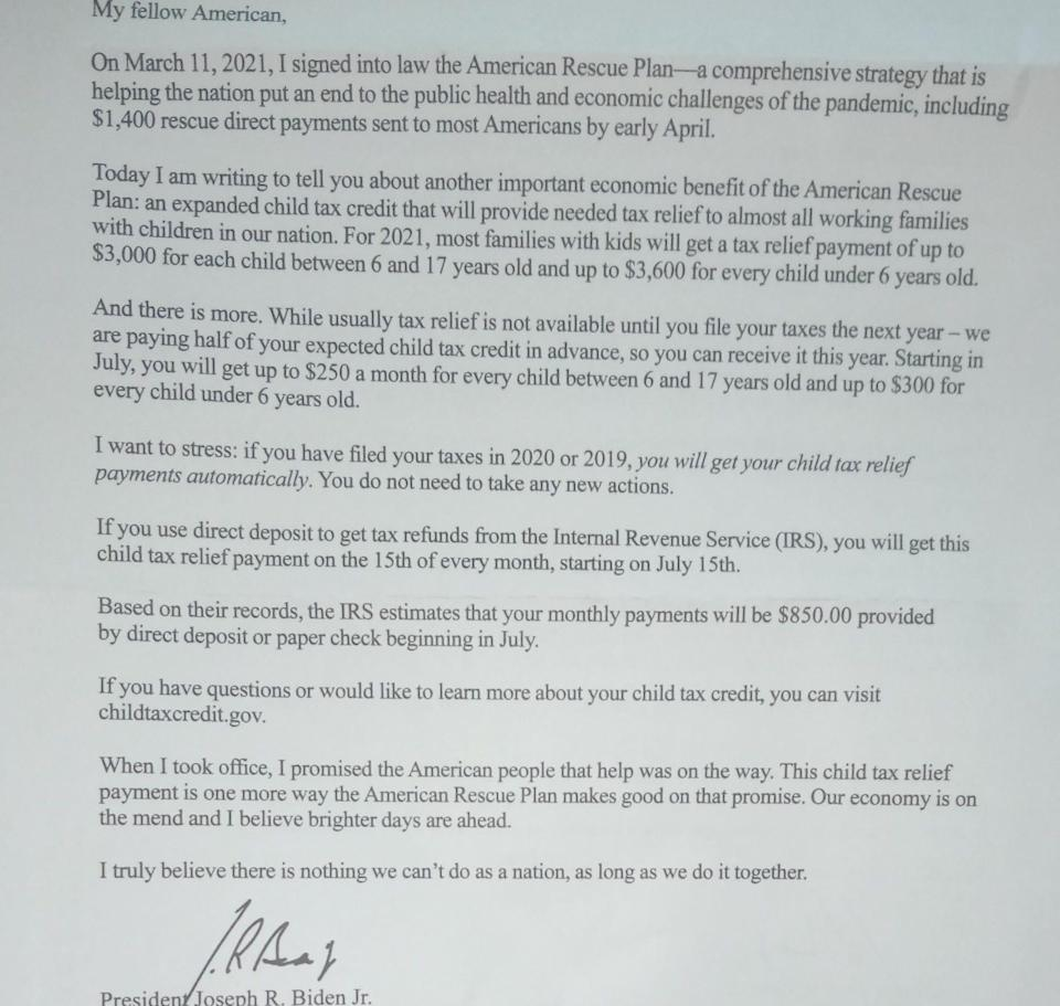 Letter sent to families eligible for the expanded federal child tax credit.