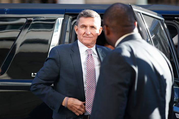 President Donald Trump's former national security adviser Michael Flynn arrives for his sentencing at the U.S. District Court in Washington, Tuesday, Dec. 18, 2018.