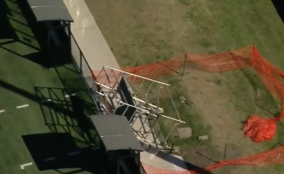 Scaffolding pictured knocked over at Teralba Park