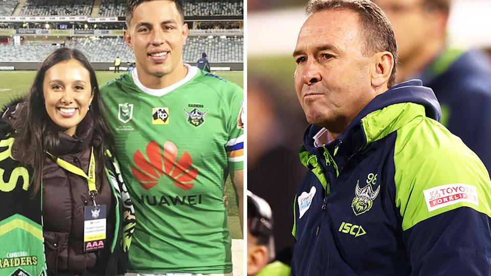 Kirstine Tapine's social media post criticising Ricky Stuart led to an awkward exchange between Joe and the Canberra Raiders coach. Pictures: Instagram/Getty Images