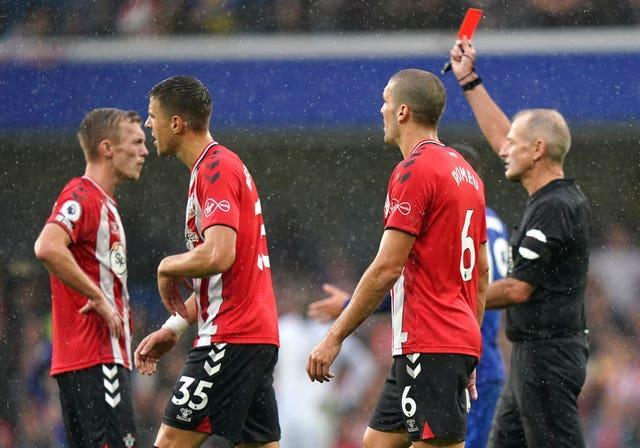 Southampton's James Ward-Prowse (left) was shown a straight card by referee Martin Atkinson after a VAR review (Tess Derry/PA)