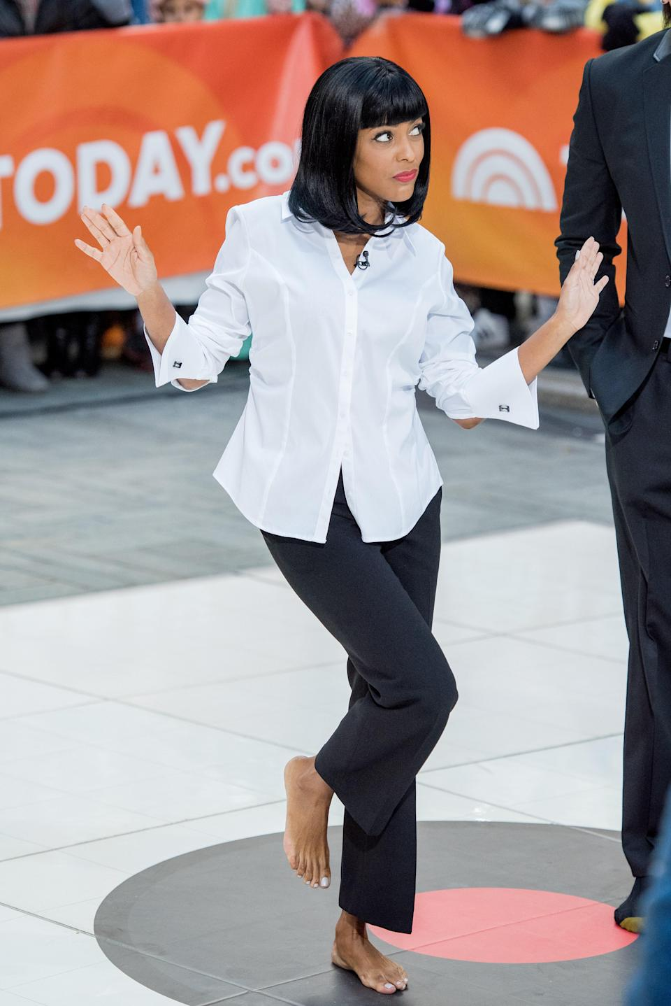 Going barefoot might be a questionable choice for Halloween, but otherwise Tamron Hall may have found the easiest costume of all: A white button-down, black pants, and a bob will immediately transform you into Uma Thurman's character in <em>Pulp Fiction</em>.
