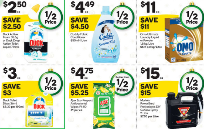 Laundry detergent, bathroom cleaners and pesticide on sale for half-price at Woolworths.