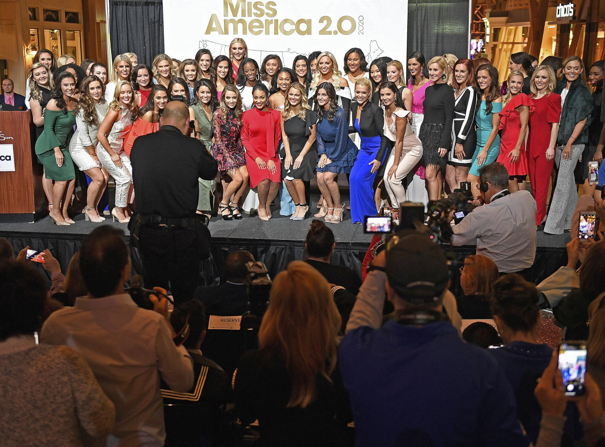The 51 candidates for Miss America 2020 posed for a group photo during the official Arrival Ceremony for the Miss America 2.0 competition earlier this week at Mohegan Sun. (Photo: Sean D. Elliot/The Day via AP)