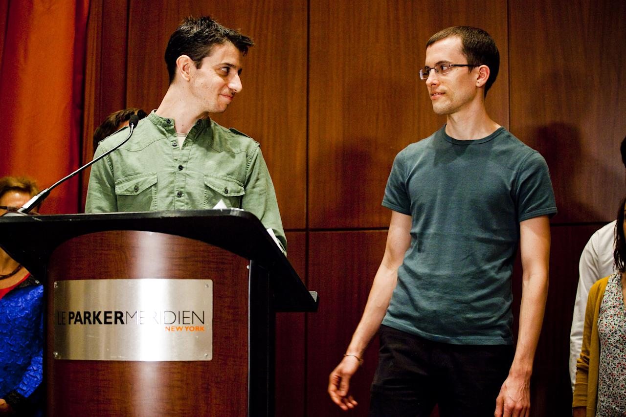 NEW YORK -- SEPTEMBER 25:  Josh Fattal (L) and Shane Bauer (R), two American hikers released after spending more than two years imprisoned in Iran, held a press conference at the Parker Meridien New York, on September 25, 2011 in New York City.  Fattal and Bauer were charged with trespassing and espionage, after allegedly crossing the border between Iraq and Iran on a hiking trip.  (Photo by Michael Nagle/Getty Images)