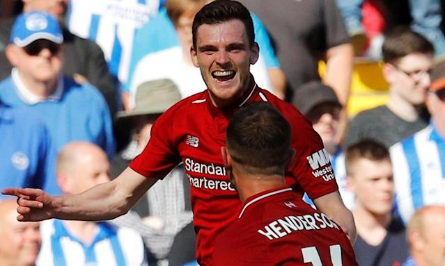Left-back Andy Robertson, an £8m signing from Hull City last summer, is already a Liverpool cult hero.